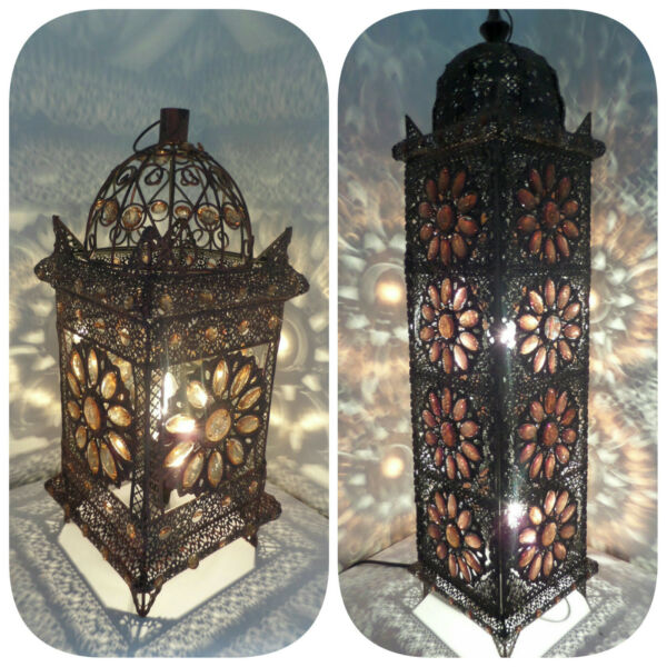 Floor Table Lamp Bronze Moroccan Style Jeweled Cutwork Flower Stunning Hover To Zoom