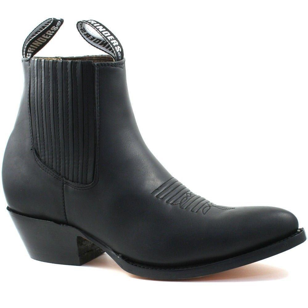 Grinders Cowboy Leather Mens Ladies Ankle Boots Black Maverick Biker Western