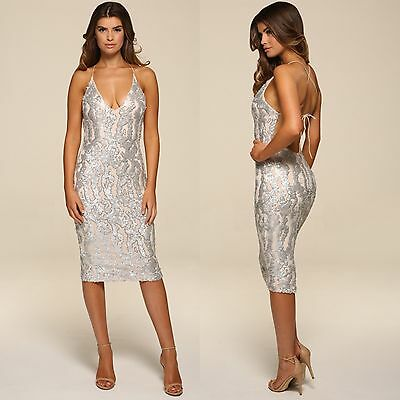 Femmes Honor Gold Luxe Sequin Bas Design Dos Midi Robe Soiree Cocktail Ebay
