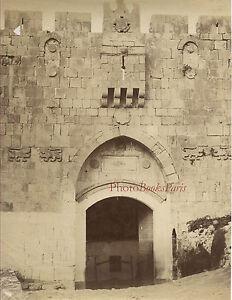 La Porta Di Saint-Etienne Gerusalemme Vintage Albumina Ca 1875