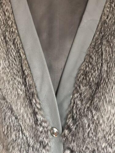 leather Trim Faux Fur M size Lovely Unique Grey l Waistcoat Ladies amp; Rare Jacket xnq4XRC