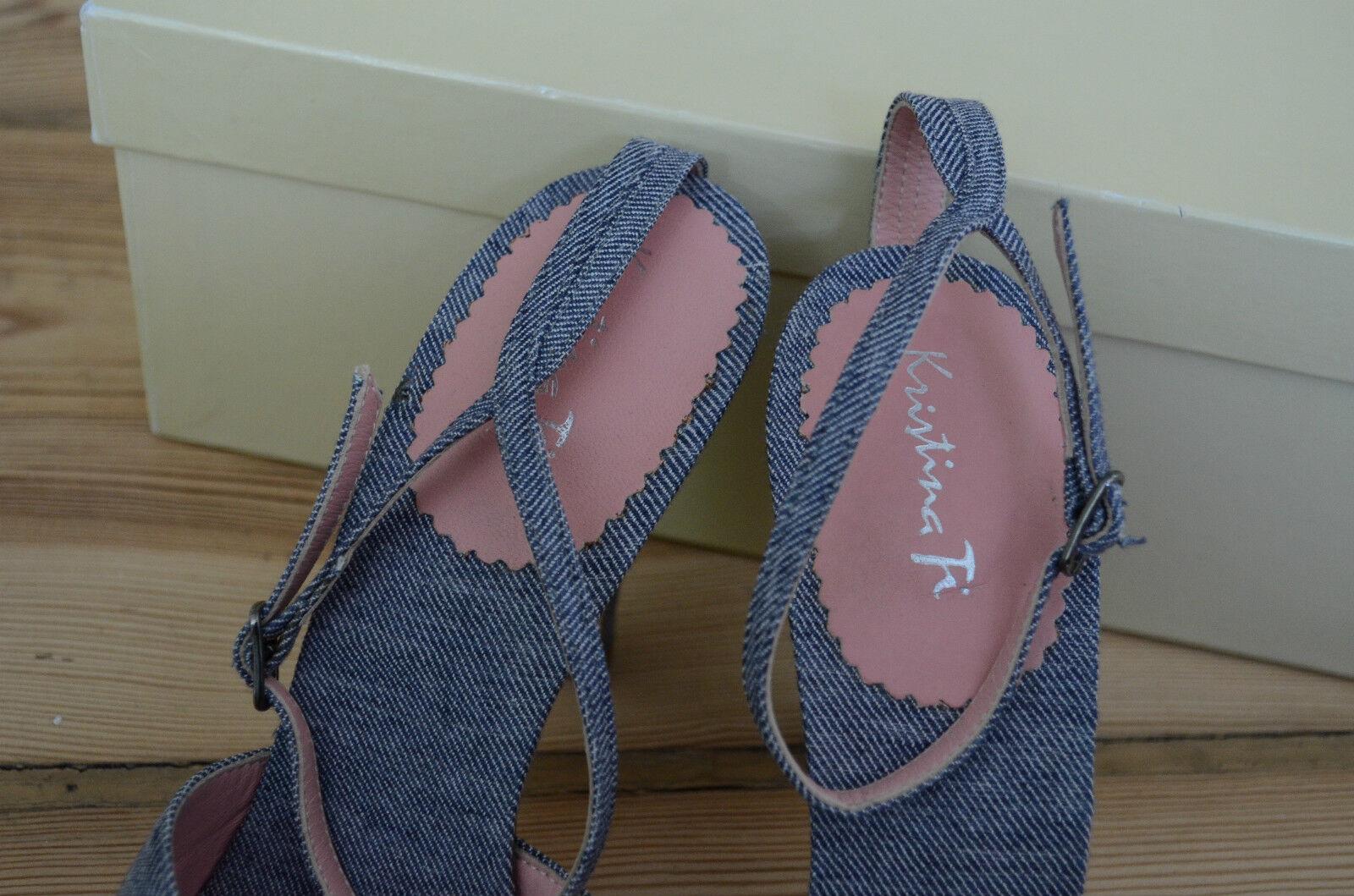 KRISTINA TI Traum Denim Sandalen NEU  39.5 39 1/2 39,5  High Heels 39,5 1/2 made in  781208