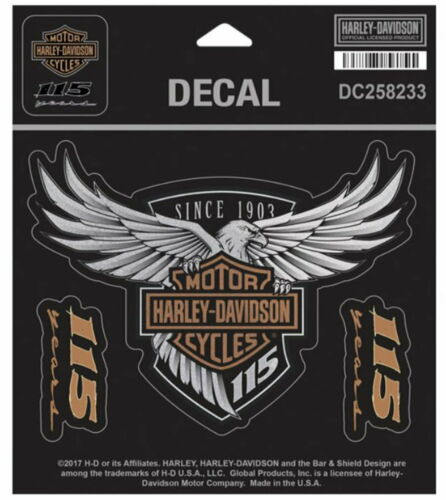HARLEY DAVIDSON 115TH ANNIVERSARY SET OF 3 DECAL MADE IN USA MED OBSOLETE