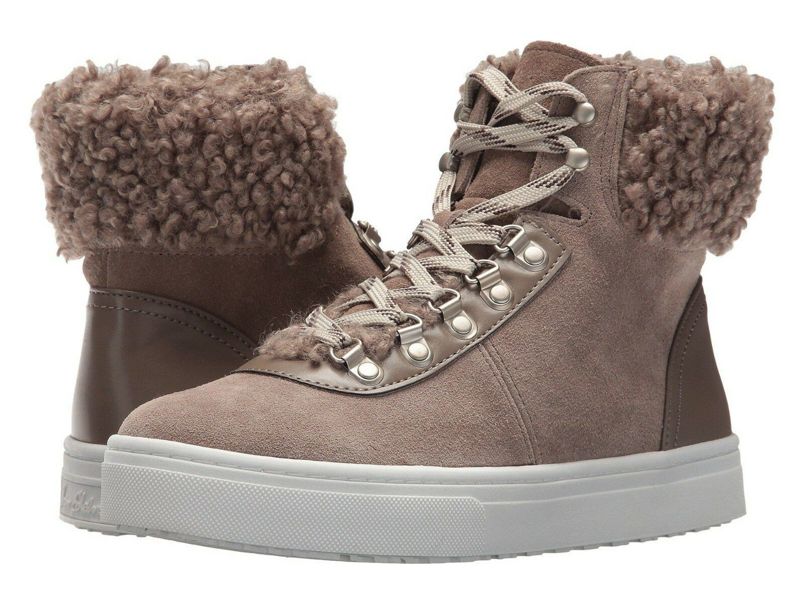 Sam Edelman Luther Womens Size 8M Putty Suede Faux Shearling Sneaker Booties New