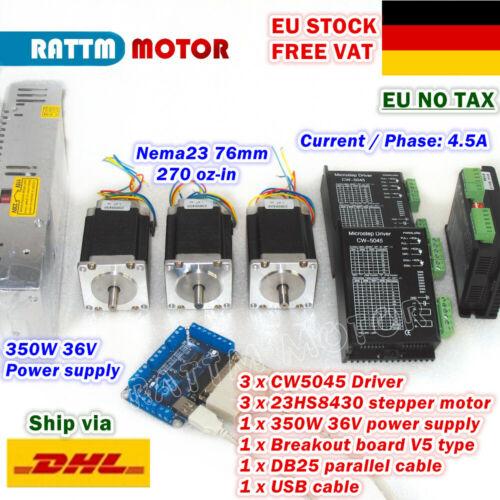 【DE】3 Axis Nema23 76mm Stepper Motor 270oz-in+CW5045 Driver+V5 Board CNC Router