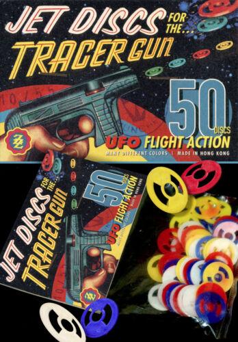 50 ZZ JET DISCS MUNITION TRACER GUN SCHEIBEN PISTOLE UFO STAR SPIELZEUG 60er