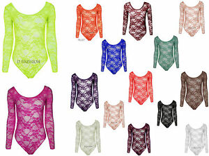NEW-LADIES-WOMEN-GIRL-LONG-SLEEVE-MESH-FLORAL-LACE-TOP-PARTY-BODY-SUIT-SIZE8-14