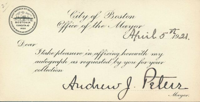 Andrew J. Peters - Signature by the Massachusetts Politician as Mayor of Boston