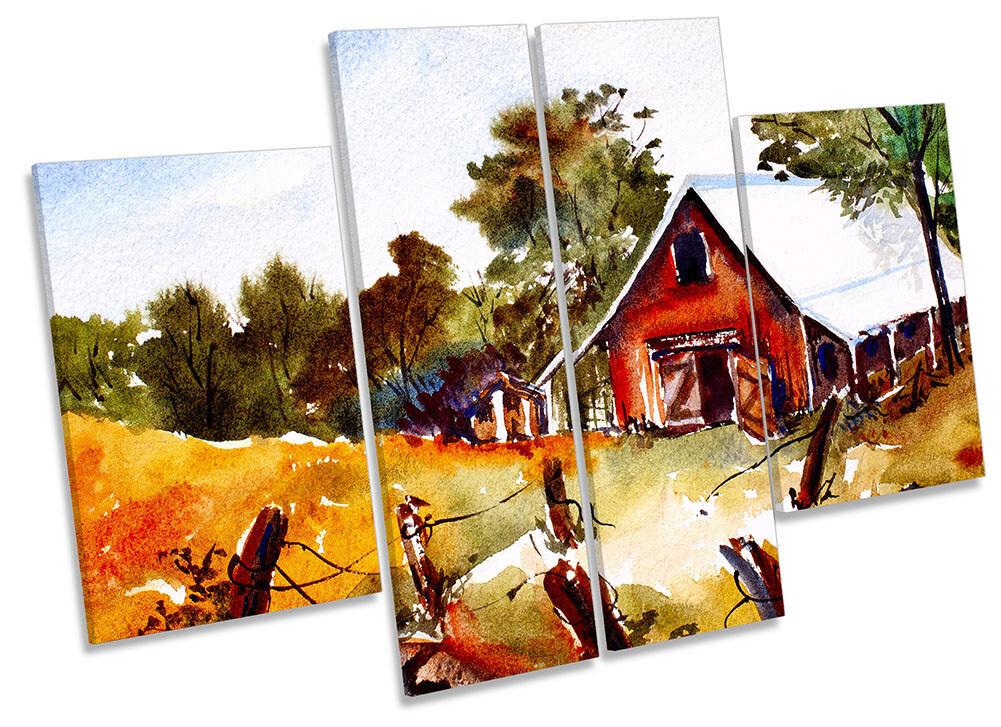 PAESAGGIO CAMPAGNA AUTUNNO incorniciato stampa tela quattro PANNELLO Wall Art