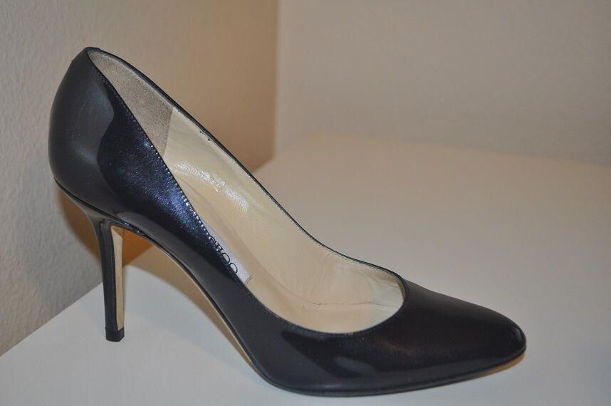 550+ Jimmy Choo GILBERT Enamel Patent NAVY blueE Pumps Heel shoes 37   6.5 US