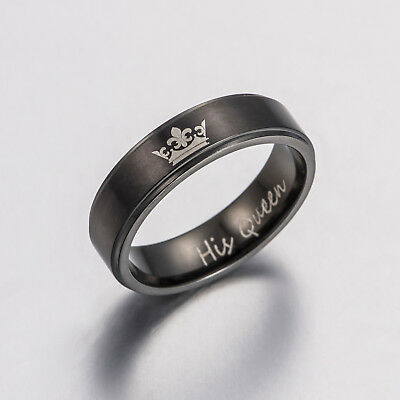 His Queen and Her King Black Titanium Steel Couple Ring Engagement Ring Jewelry