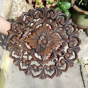 Details About 1 X Thai Vintage Carved Wood Wall Decor Panel Flowers Wood Wall Art Brown 11