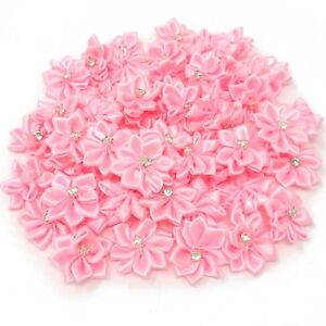 Light-Pink-Satin-Ribbon-Flowers-amp-Rhinestone-Diamante-Centre-25mm-Craft-Flower