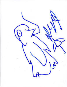 ROBIN-LORD-TAYLOR-SIGNED-8-5X11-SKETCH-AUTOGRAPH-GOTHAM-PENGUIN-PROOF-COA