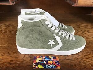 60cb70d12be92b Converse Pro Leather Mid Mens Suede Skate Shoes Shoe Olive White ...