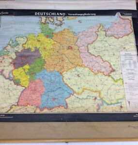 Map Of Deutschland Germany.Details About Vintage Denoyer Geppert Germany Deutschland German Pull Down A38b Map 855s