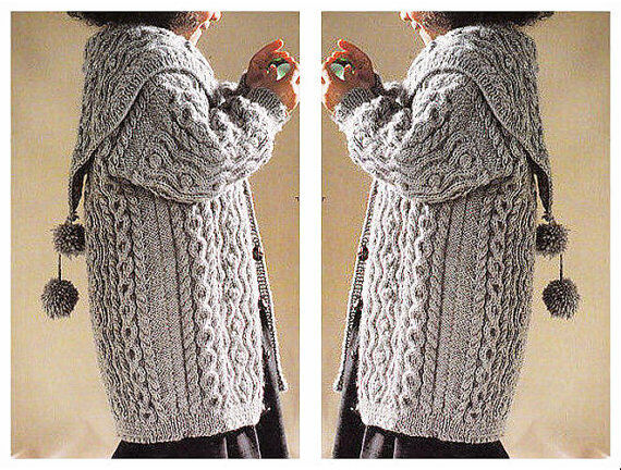 Girls Aran Style Long Cardigan Coat Dk Knitting Pattern 99p Pdf Ebay