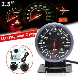 Kit-2-5-039-039-60-mm-12V-Universel-LED-Manometre-MANO-Pression-Turbo-Boost-Aiguille