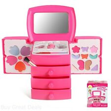 Kid Toy Princess Pink Girl Vanity Cosmetic Makeup Nail Case Play Mirror 3 Drawer