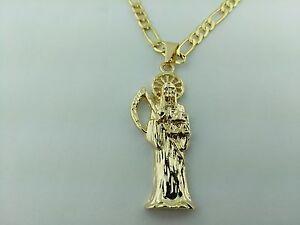 Grim reaper pendant gold plated and necklace dije de la santa la foto se est cargando grim reaper colgante collar chapado en oro y aloadofball Choice Image