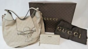 GUCCI-Guccissima-Emily-Hobo-Off-White-Leather-Purse-322226-amp-Wallet-3595C-6969