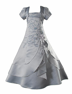 New Grey Satin Flower Girl Bridesmaid Dress 4-5 years with Matching Bolero