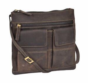 Ladies-Real-Leather-Cross-Body-Messenger-Shoulder-Portable-Oil-Brown-Sling-Bag
