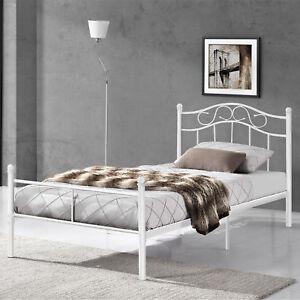 Metallbett 90x200 weiß  en.casa]® Metallbett 90x200 Weiß Bettgestell Bett Schlafzimmer ...