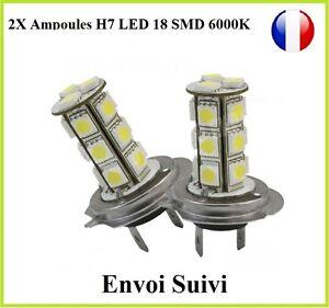Discret 2x Ampoules H7 Led 18 Smd Blanc 6000k 35w Xenon Phare Anti Brouillard Renault En Voyageant