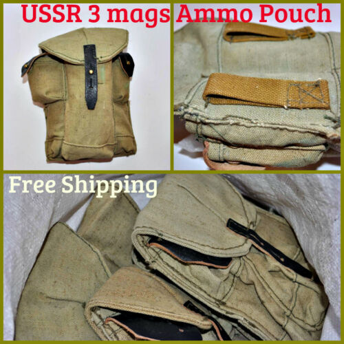 Soviet Russian Rifle Ammo Pouch Canvas Bag 3 Magazines Unissued Military Surplus