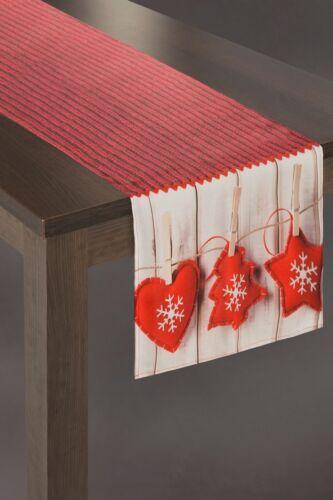 Tischläufer Tischtuch Tischdecke Rot 40x140 cm Weihnachten Weihnachtstischdecke