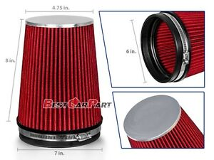 "RED 6"" 152mm Inlet Truck Air Intake Cone Replacement Quality Dry Air Filter"