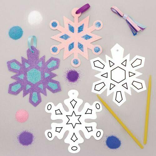 3 SNOWFLAKE SAND ART GLITTER XMAS DECORATION Peel Off KIDS CRAFT STOCKING FILLER