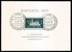 DR-Danzig-Nazi-Reich-Rare-WW2-Stamp-1937-Castle-Tower-Daposta-FDC-Classic-Block