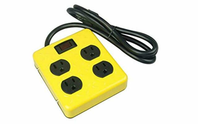 4-foot Cord Yellow Jacket 2177N Metal Power Supply Adapter Block with 4 Outlets