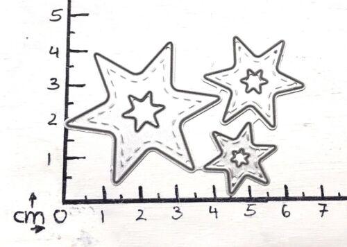 Stanzschablone//cutting esto estrella estrellas Xmas 3er set con costura latina