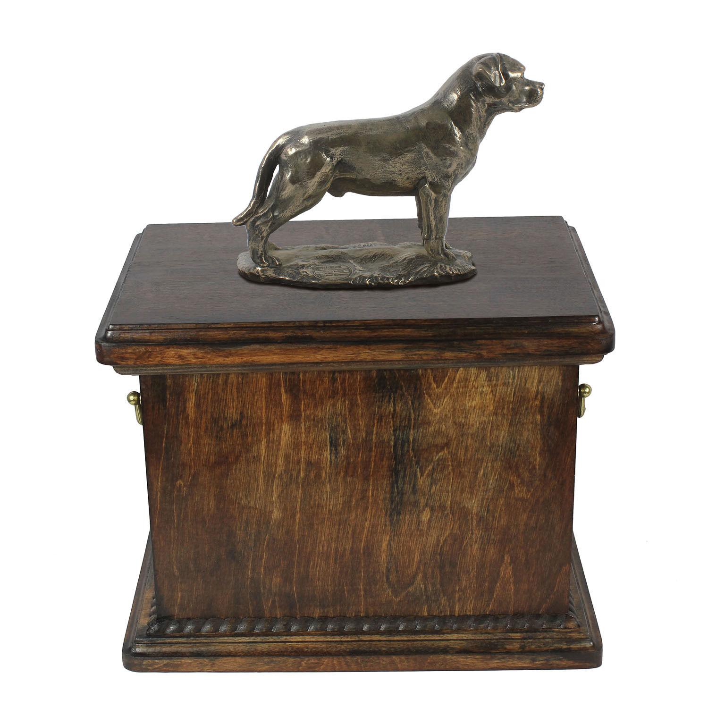 outlet online economico BARA di legno legno legno rossotweiler con coda Memoriale Urna per le ceneri di cane, con statua di cane.  presentando tutte le ultime tendenze della moda