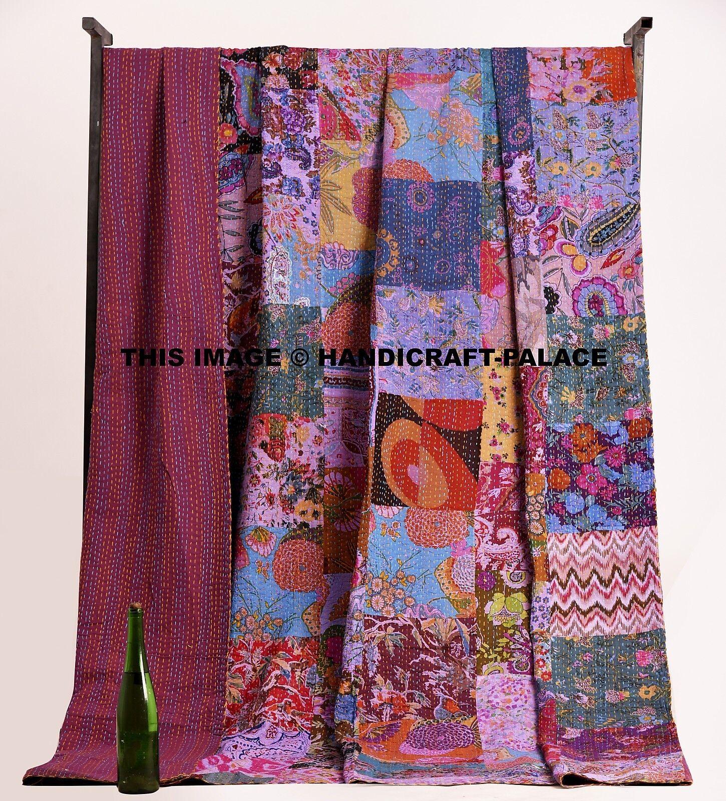 Indian Patchwork Kantha Quilt Ethnic King Bedspread Bohemian Blanket Bedding