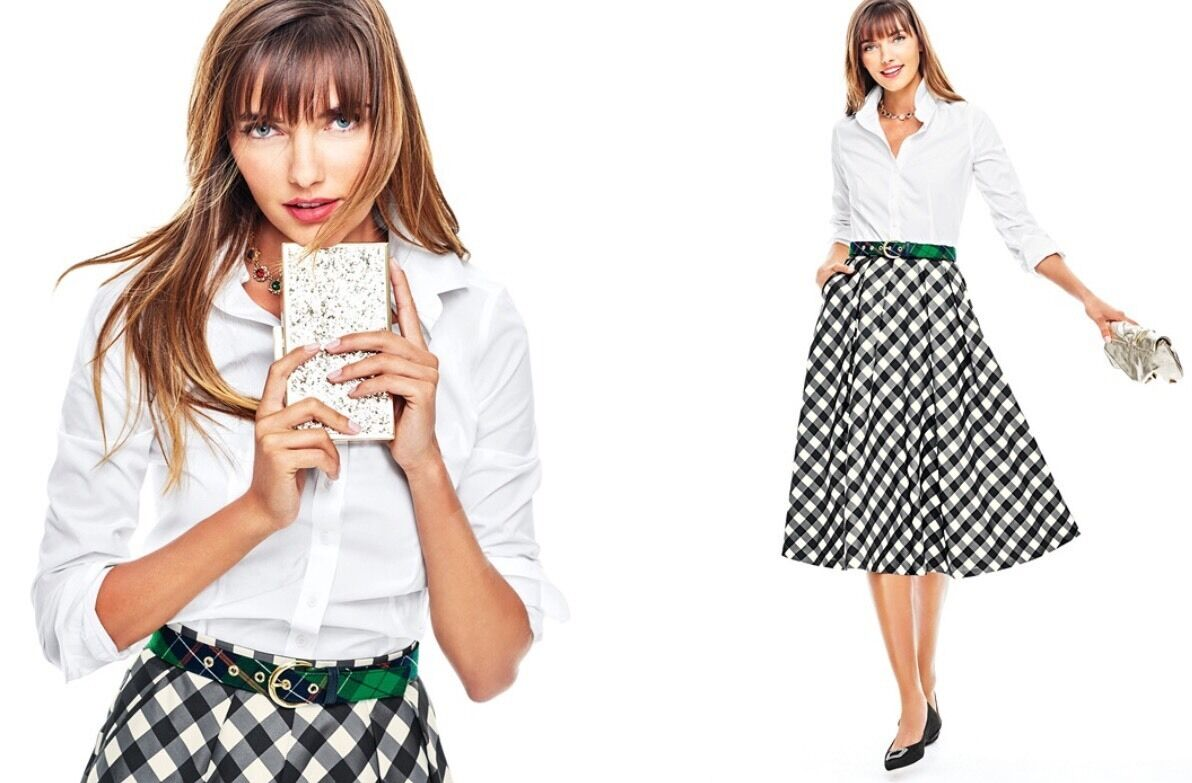 149 NWT TALBOTS LADYS PLAID LINED, WEAR TO WORK HOLIDAY FLARE SKIRT SIZE 8