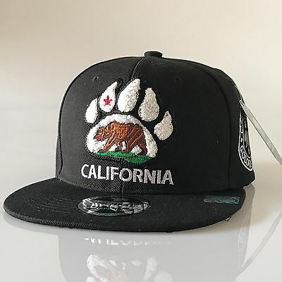 California Republic Snapback Hat Loop Cali Bear Flat Bill réglable Cap OSFM