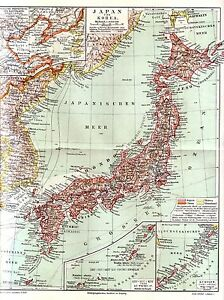 C 1890 Japan Korea Taiwan Ryukyu Kuril Islands Antic Map Ebay