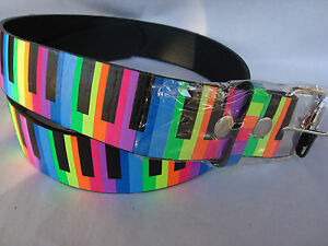 PIANO Keyboard Leather Belt Rainbow Sz S Silver Buckle Brand NEW Music Gift