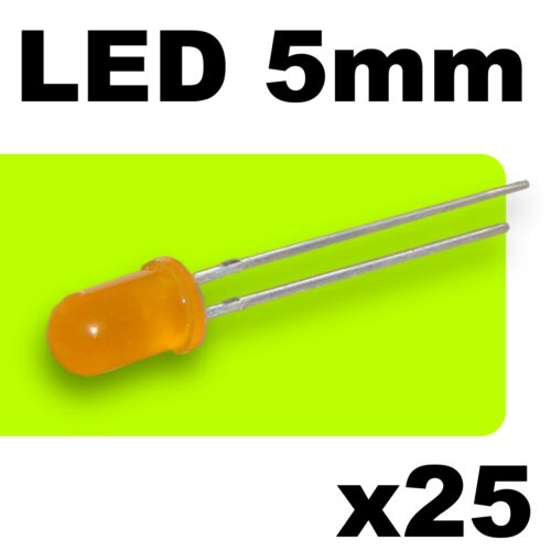 -25pcs résistances 443//25# LED orange  diffusant 5mm