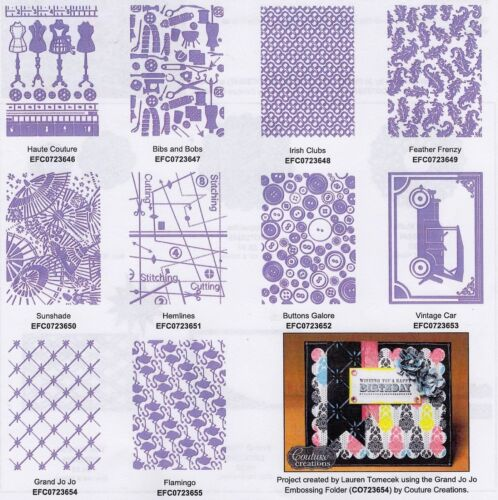 "COUTURE CREATIONS Embossing Folder WHO WHAT WEAR COLLECTION 5/"" X 7/"" CLEARANCE"