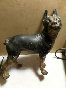 "ANTIQUE VINTAGE PAINTED CAST IRON BOSTON TERRIER BULLDOG DOG DOOR STOP   8/"" TALL"