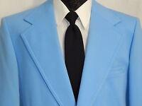 Vtg 70's Men PROM Jacket SKY BLUE Sport Coat MoD DISCO Blazer RETRO 42 XL LONG