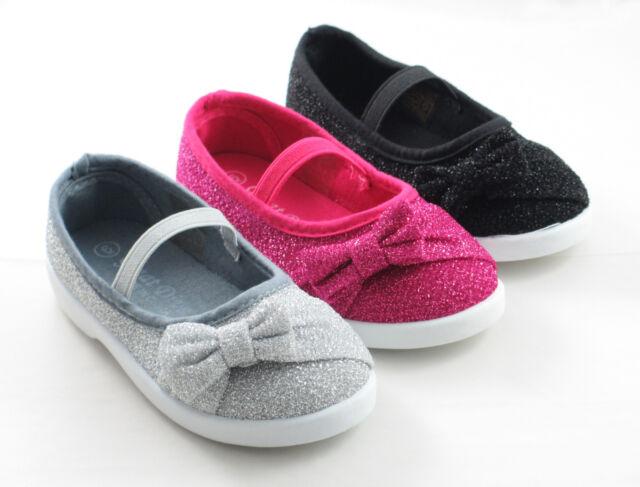 Infant Toddler Girls Ballet Flat Shoes Glitter Bow Black Silver Fuchsia NEW