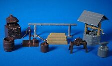 9 Louis Marx BAR M RANCH Playset Plastic Brown + Gray Accessories, V.Fine, 1950s