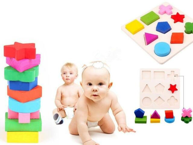 DIU Top Promotion Wooden 9 Shapes Colorful Puzzle Toy Baby Educational Brick Toy