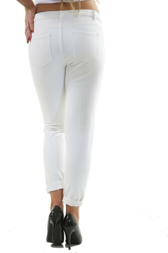 Ladies Ex High Street Blue Mom Fit Womens Distressed Design White Rip Jeans